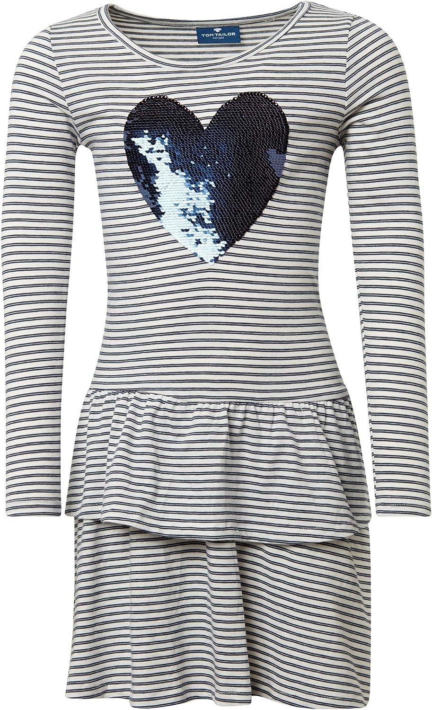 TOM TAILOR f/ür M/ädchen Kleider /& Jumpsuits Gestreiftes Kleid mit Artwork/