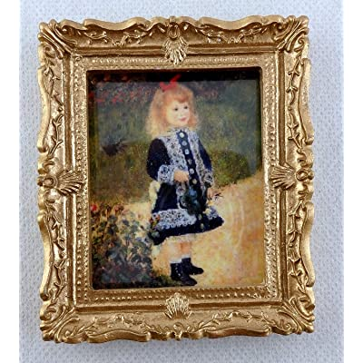 Melody Jane Dolls Houses House Miniature Accessory Little Girl in Blue Picture Painting Gold Frame: Toys & Games