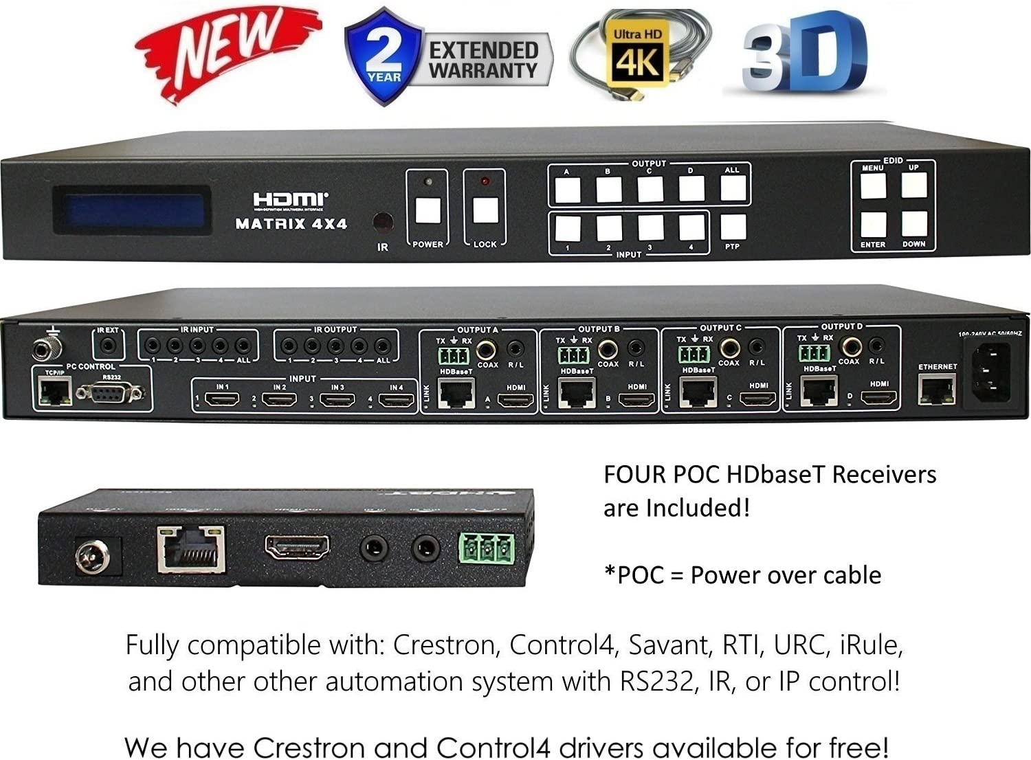 4x8 4K HDMI 4x4 Matrix SWITCHER w/Four PoC RECEIVERS (CAT5e or CAT6). HDCP2.2 HDTV Routing SELECTOR SPDIF Audio CONTROL4 Savant Home Automation