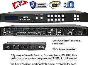 4x8 4K HDMI 4x4 Matrix SWITCHER w/Four PoC RECEIVERS (CAT5e or CAT6). HDCP2.2 HDTV Routing SELECTOR SPDIF Audio CONTROL4 Savant Home Automation