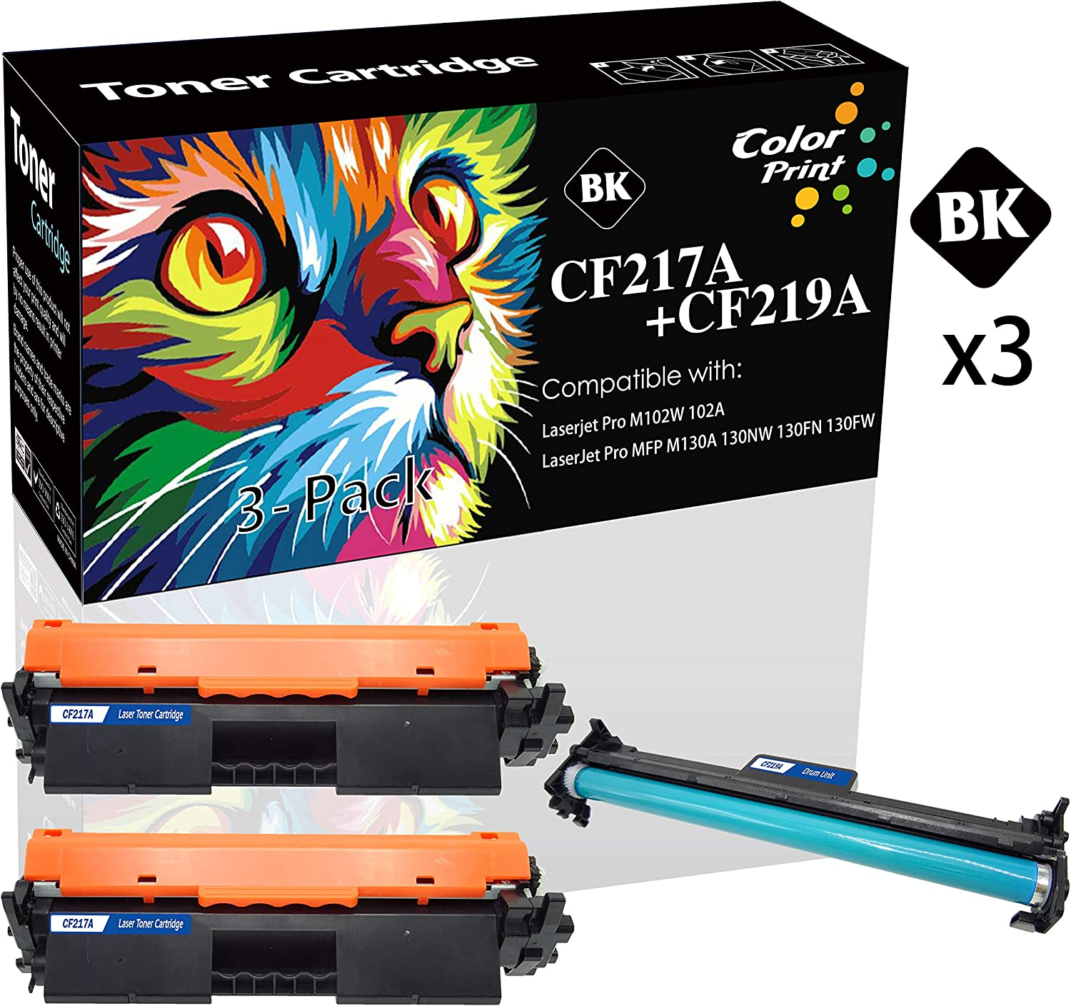 (2 Toners +1 Drum) Compatible CF217A 17A Toner Cartridge 2 Pack & CF219A 19A Drum Unit 1 Pack Used for HP Laserjet Pro M102A M102W MFP M130NW M130FN M130A M130FW Printer, by ColorPrint