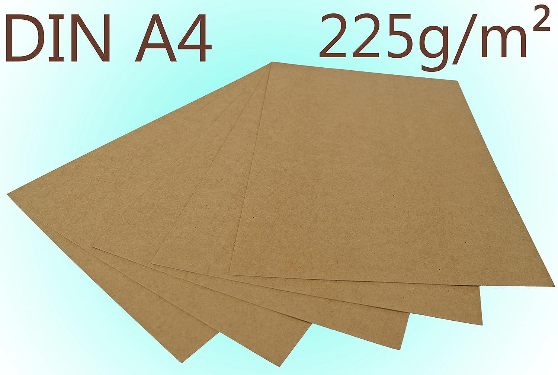 50 Blatt Kraftpapier Kraftkarton DIN A4 225g/m² Bastelkarton braun Hochzeit Papermane