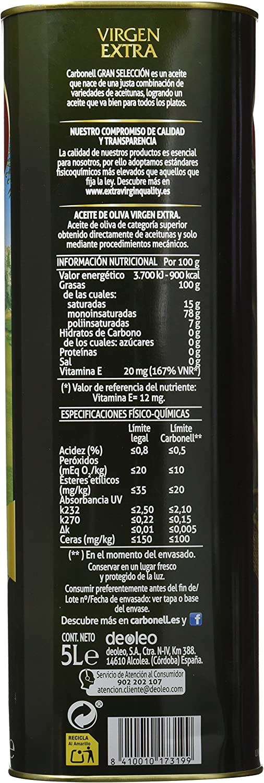 Carbonell Aceite de Oliva Virgen Extra 5 L: Amazon.es: Alimentación y bebidas