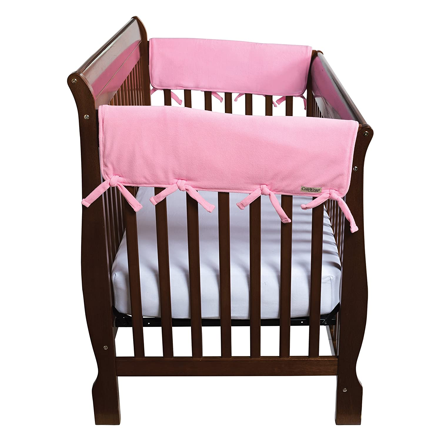 Trend Lab Fleece CribWrap Rail Covers for Crib Sides (Set of 2), Pink, Wide 109050