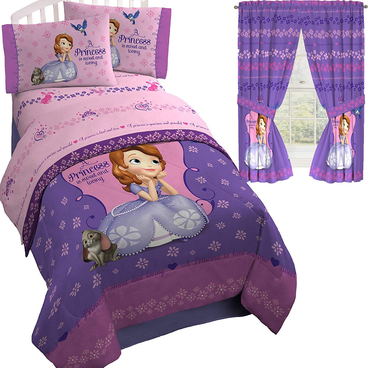 Princess Sofia the First Disney Purple TWIN/FULL Comforter(72'' x 86'') and Sheets + Curtains! (5pc TWIN/FULL Comforter w/TWIN SIZE SHEETS)