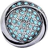 Morella Damen Click-Button Druckknopf mit hellblauen Zirkoniasteinen