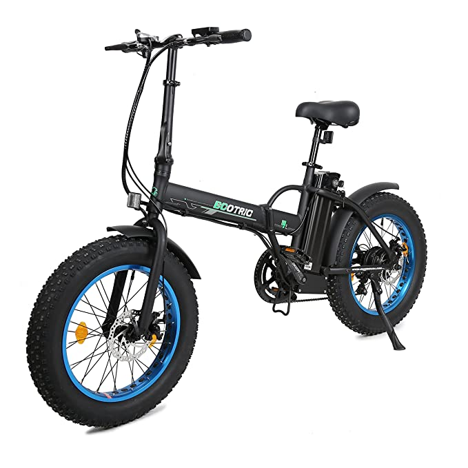 "ECOTRIC 20"" New Fat Tire Folding Electric Bike Beach Snow Bicycle ebike 500W Electric Moped Electric Mountain Bicycles ... (Black and Blue) best fat tire bikes"