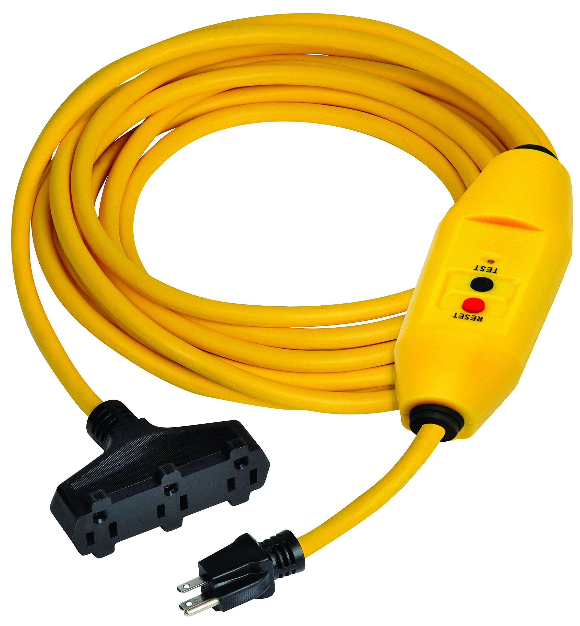 Tower Manufacturing 30438303-01 Auto-Reset 15 AMP Inline GFCI Triple Tap Cord, 50 Feet, Yellow