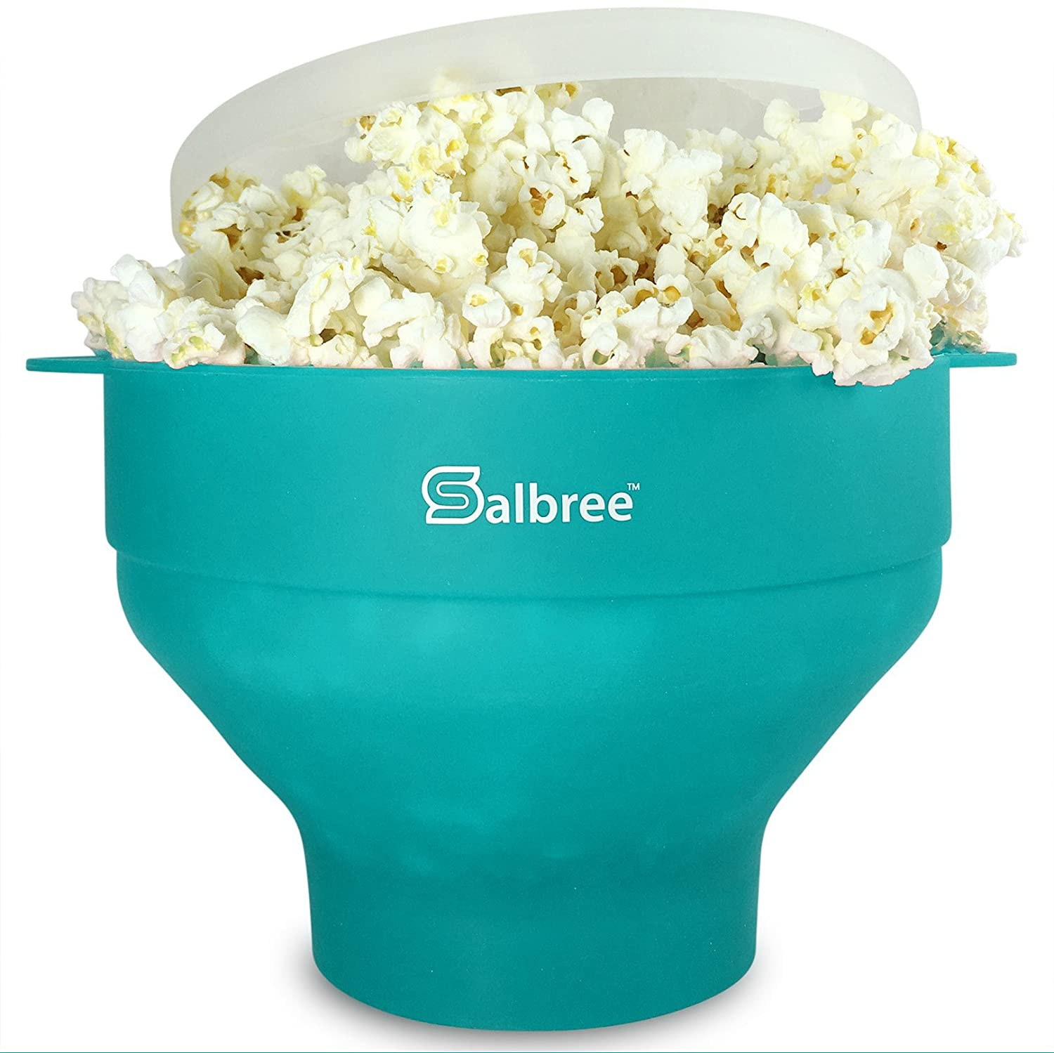 The Original Salbree Microwave Popcorn Popper, Silicone Popcorn Maker, Collapsible Bowl BPA Free -14 Colors Available (Aqua)
