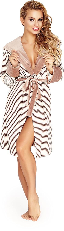 Wanmar Ladies Velour Dressing Gown Juka (Beige, S): Amazon.co.uk ...