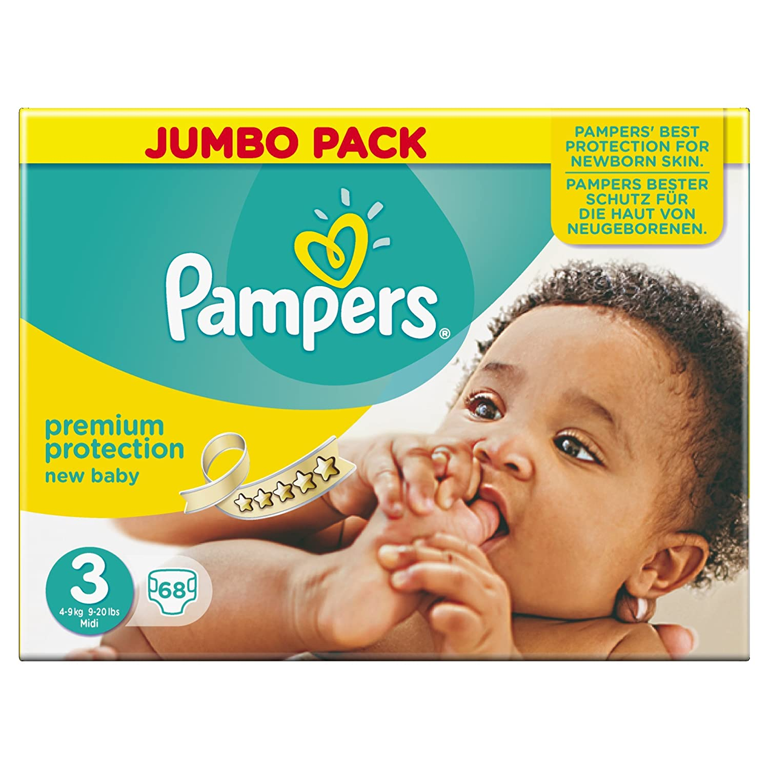 Ancienne version - Pampers New Baby Nouveau-Né ( 2-5 kg / 4-11 Lbs) , 45 Couches Taille 1 Géant - Lot de 3 (135 couches) 8393779