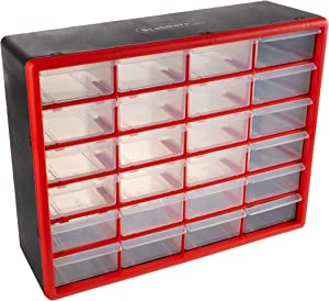 Storage Drawers-24 Compartment Organizer Desktop or Wall Mount Container- 24 Bins for Hardware, Beads, Jewelry, and More by Stalwart