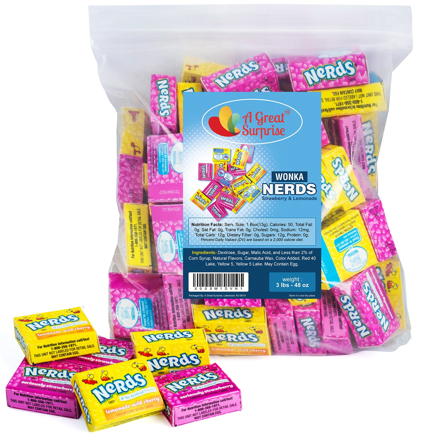 Nerds Candy - Wonka Nerds - Approx. 75+ Mini Boxes - Bulk Candy - 3 LB by A Great Surprise