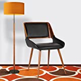 Armen Living  Panda Dining Chair in Black Faux Leather and Walnut Wood Finish
