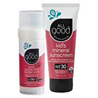 All Good Baby & Kids Mineral Sunscreen Combo Pack - SPF 50 Butter Stick & SPF 30 Lotion - Coral Reef Safe - Zinc Oxide
