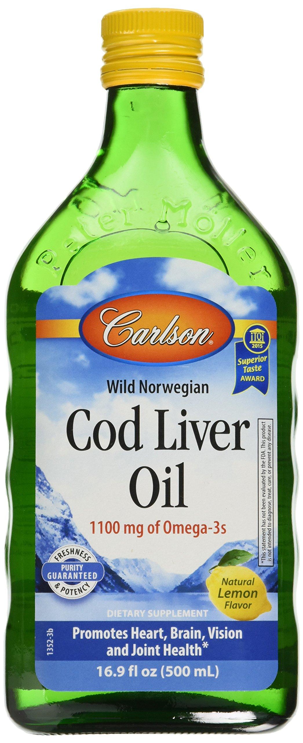 Carlson Cod Liver Oil, Lemon, 1,100 mg Omega-3s, 500 mL