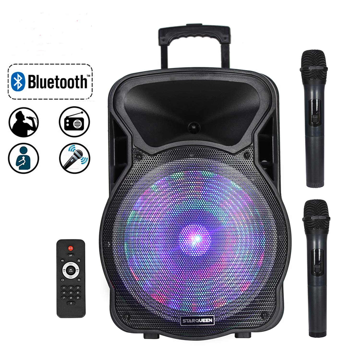 STARQUEEN 15Inch Portable Bluetooth Speaker, Rechargeable PA System with 2 Wireless Microphones/LED Party Lights, AUX/USB/TF Input/FM Radio/Holes for Tripod Stand, Karaoke Amplifier System