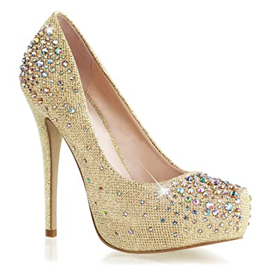 ce01fea0fb0 Summitfashions Womens Stunning Gold Glitter Pumps 6   High Heel Dress Shoes  with Rhinestones Size
