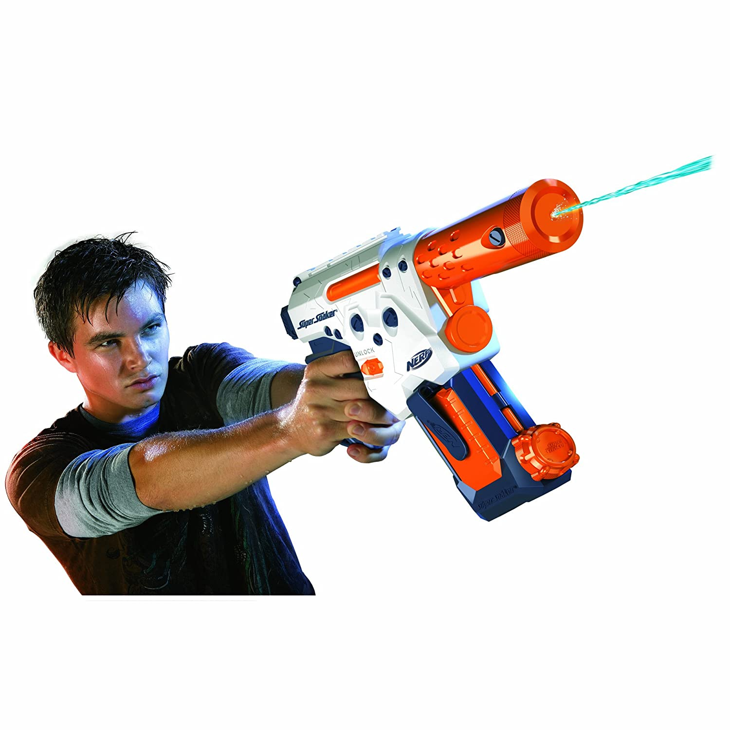 Closeup of a man aiming a Nerf Super Soaker Scatterstrike water gun.
