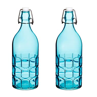 Set Of 2, Colorful Reusable Glass Water Bottles With Swing Top Leakproof Cap, 1L / 34oz, Flowersea Glasss Water Bottle for Oil, Vinegar, Beverages, Beer, Water, Kombucha, Kefir, Soda (Blue, Grid)
