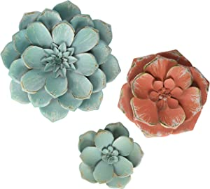 "Stratton Home Décor Stratton Home Decor Set of 3 Stunning Tricolor Metal Flowers, Small 5.75"" W X 1.25"" D X 5.75"" H Medium 8.00"" W X 1.25"" D X 8.00"" H Large 10.25"" W X 1.25"" D X 10.25"" H, Multi"