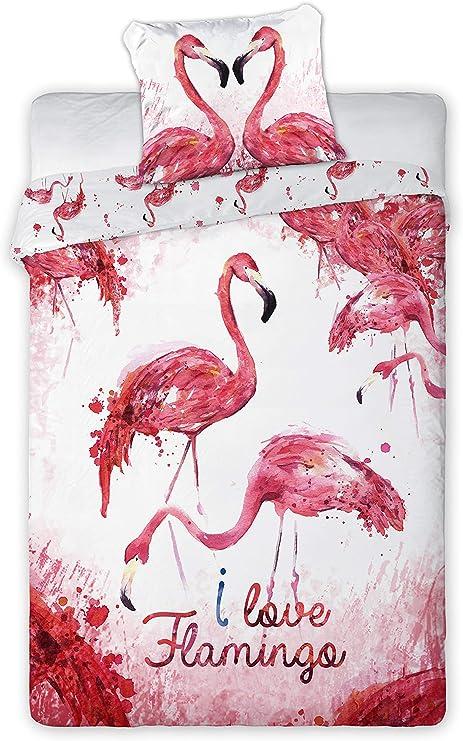 Juego de Cama Flamencos Corazón I Love Flamingos Funda nórdica y ...