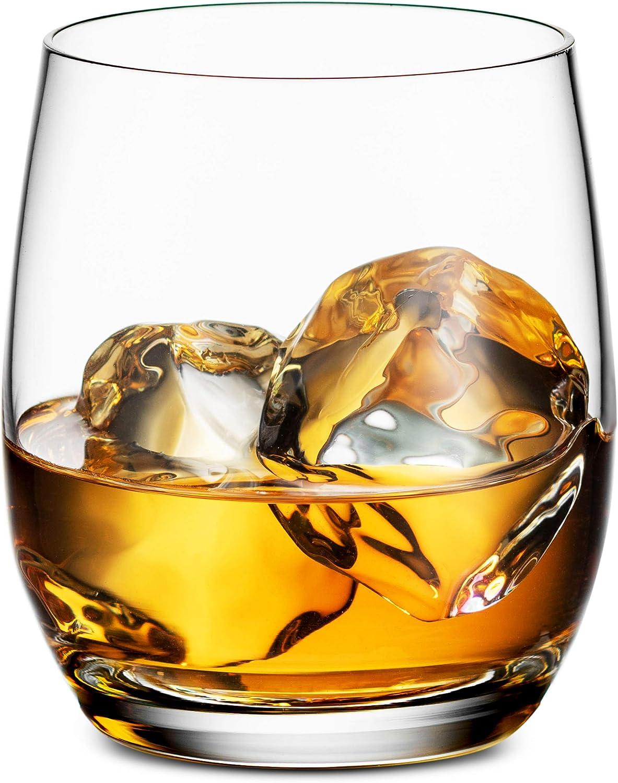 Godinger Old Fashioned Whiskey Glasses, Glass Beverage Cups, European Made - 12oz, Set of 4