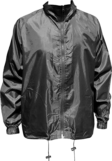 New Mens Plain Hooded Showerproof Packaway Kagool Kag In A Bag Rain Jacket