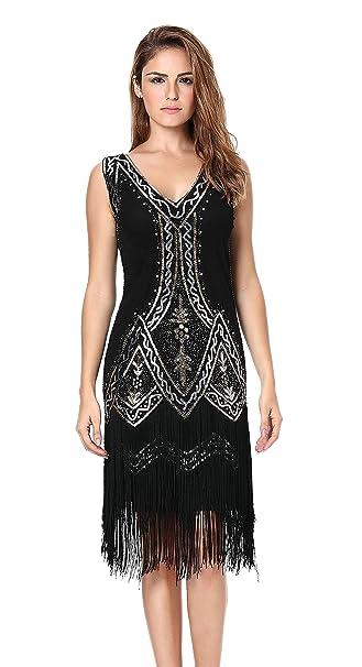 7f007c2cc04 Clothin Women s 1920s Vintage Style V-Neck Beaded Sequin Fringe Gatsby Flapper  Dress (L