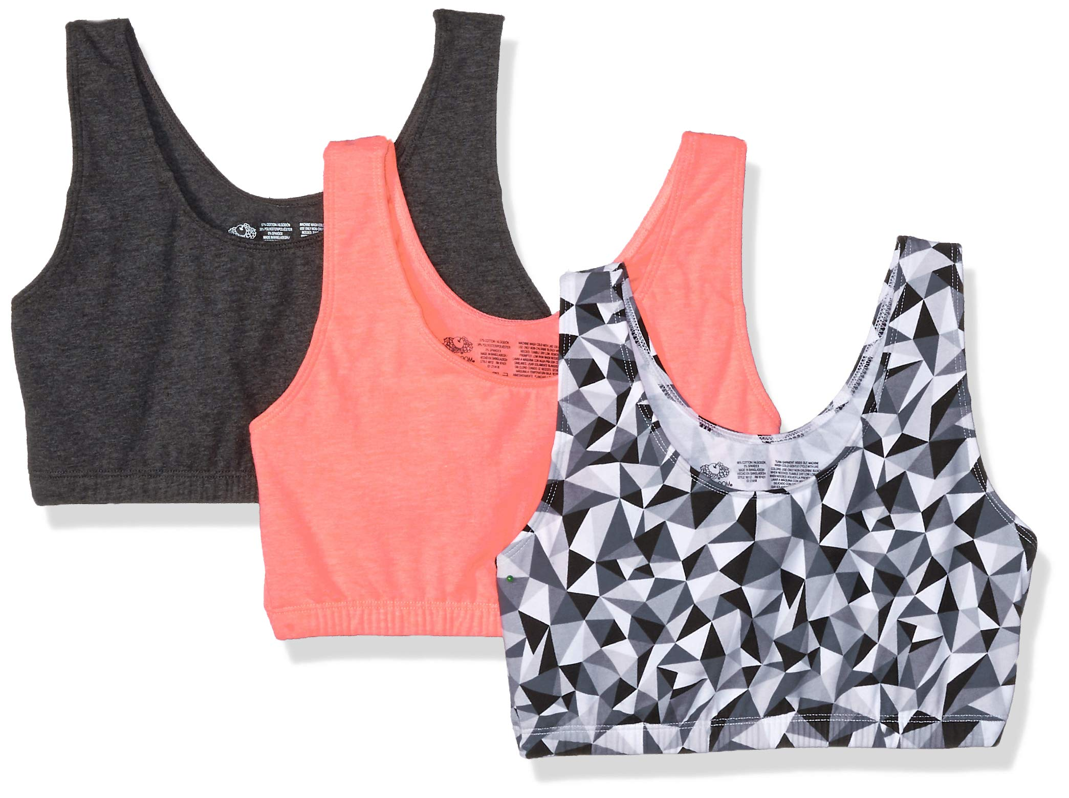 Fruit of the Loom Women's Built-Up Sports Bra 3 Pack Bra, Kaleidoscope/Charcoal/Punchy Peach, 36 by Fruit of the Loom