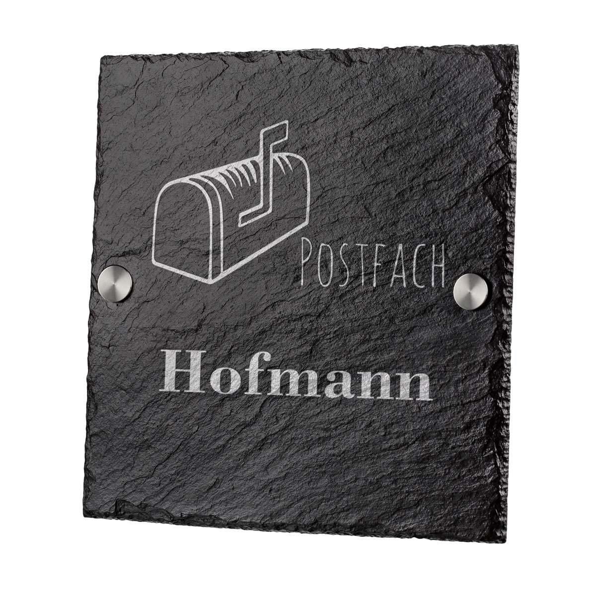 Namensschild Schieferplatte 20x20cm Hausnummerschild mit Gravur Schiefertafel Geschenk zum Einzug polar-effekt Personalisiertes T/ürschild mit Familien Name Motiv Herzen mit Namen