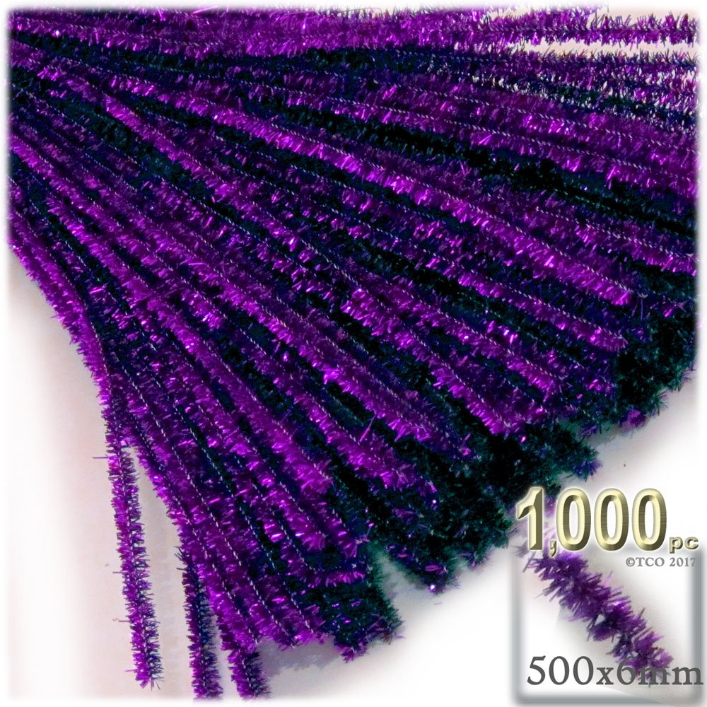 The Crafts Outlet Chenille Sparkly Stems, Pipe Cleaner, 20-in (50-cm), 1000-pc, Purple