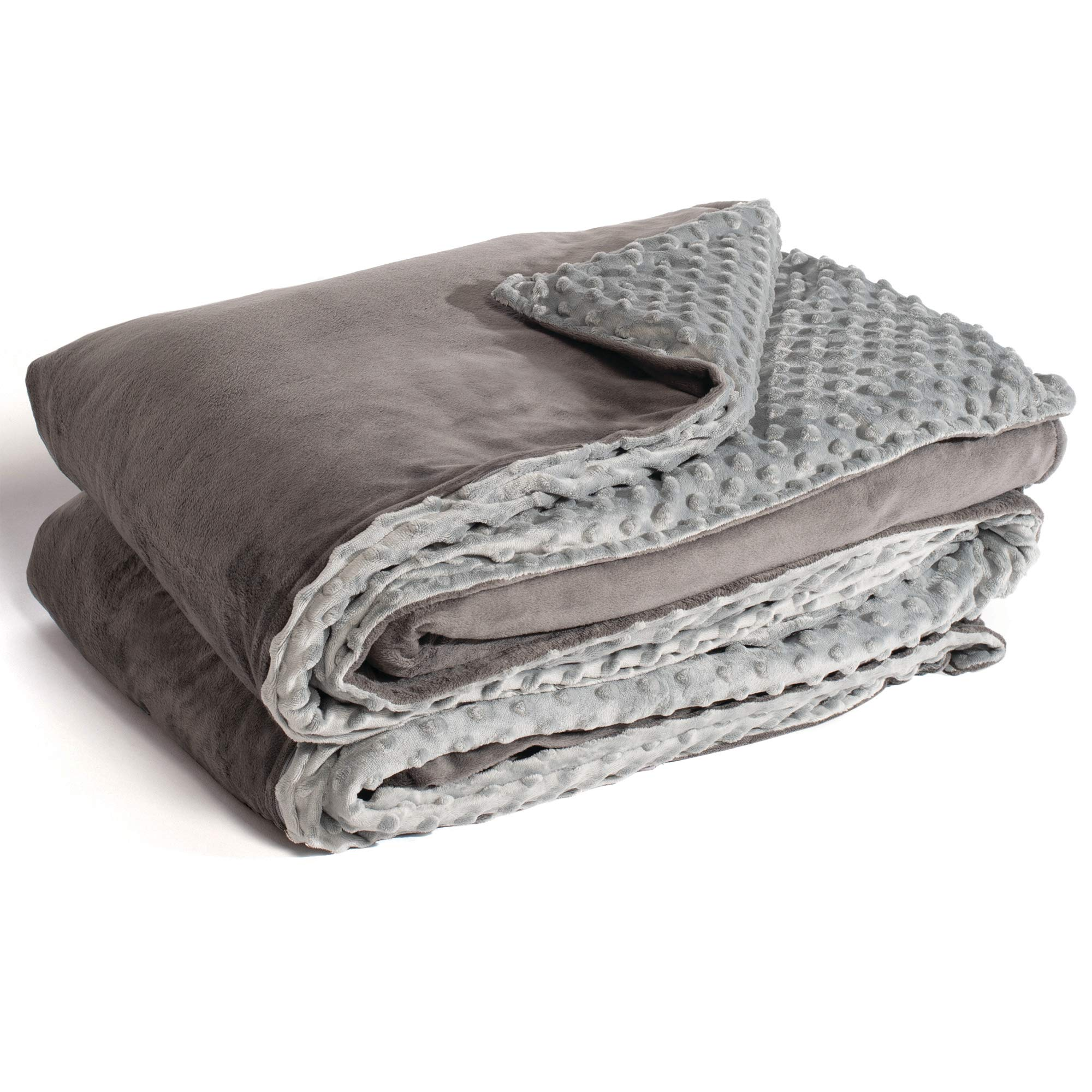 Marpac Yogasleep Premium Weighted Blanket & Removable Cover. 12 Lbs, 48'' X 72'', Charcoal/Light Gray