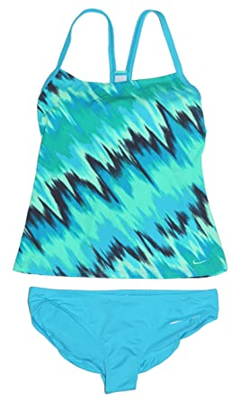 premium selection 9d6ce 484d1 Nike Women s Tankini Athletic 2-Piece Swimsuit (Small, Aqua Teal Black