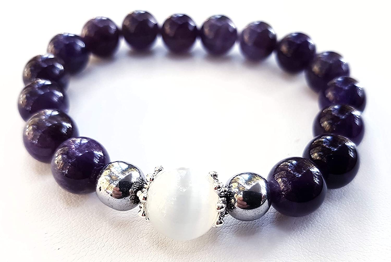 s/ér/énit/é sensualit/é calme douceur Bracelet am/éthyste et pierre de lune