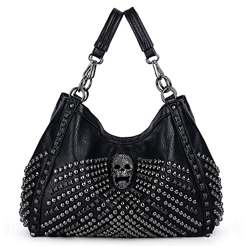 2c1906d925acc UTO Women Skull Tote Bag Large Capacity Rivet Studded Handbag Smooth PU  Leather Purse Shoulder Bags 467 with Wallet Strap