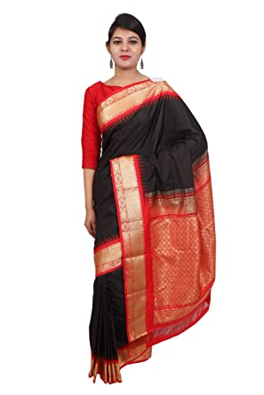 8649df23a688d9 TALUKA FASHIONS Art Silk Saree Women s Latest Design Zari Contrast Temple  Border With Blouse Piece And