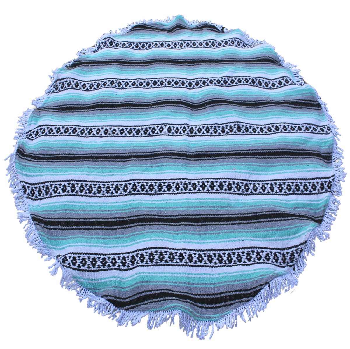 Del Mex Round Mexican Falsa Beach Blanket Roundie with Fringe