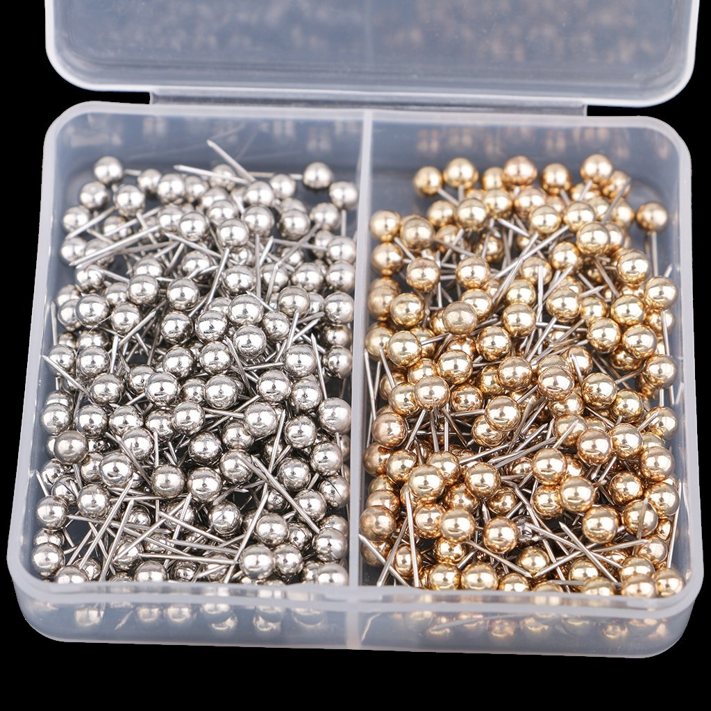 Homyl 400 Pieces Marking Push Pins Silver /& Gold Metallic Color Beads Head for for Photos Maps,Cork Boards Homemade Crafts