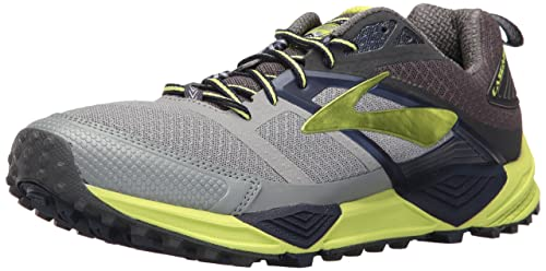 8e517656bc7 Brooks Men s Cascadia 12 Primer Grey Anthracite Lime Punch Running Shoe 8  Men US
