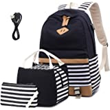 Canvas School Backpack for Girls College Laptop Backpack 15.6 inch USB Daypack Teen Girls School Backpack with USB Port
