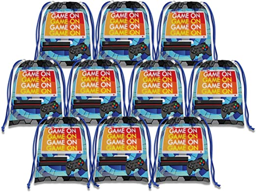 Video Gaming Game On Drawstring Bags Kids Birthday Party Supplies Favor Bags 10 Pack Birthday Galore