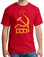 Cccp T-shirt Hammer Sickle Adult Soviet Tee - Red