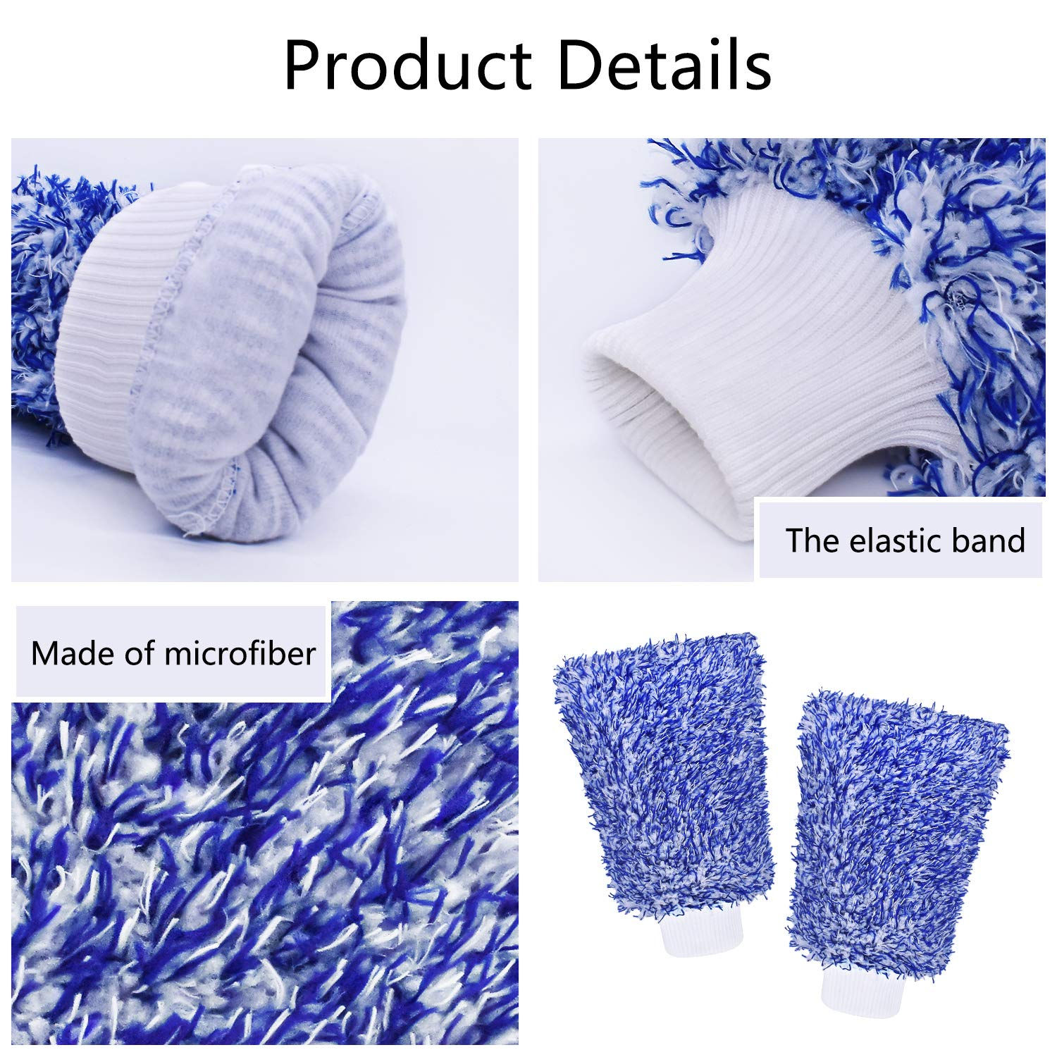Mokani Microfiber Car Wash Mitt Cleaning Gloves Equipment Sponges Blue 2 Sets Professional Scratch Free Polishing Cleaning Mitts