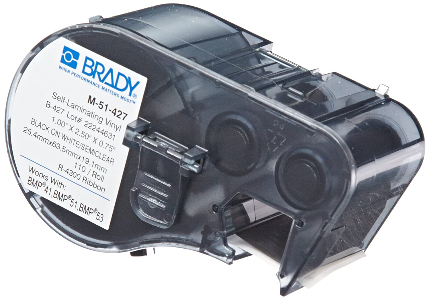 "B00FL01UEE Brady Self-Laminating Vinyl Label Tape (M-51-427) - Black on White, Semi Clear Tape - Compatible with BMP41, BMP51, BMP53 Label Printers - 2.5"" Height.75"" Width 81LgzmWnuvL"