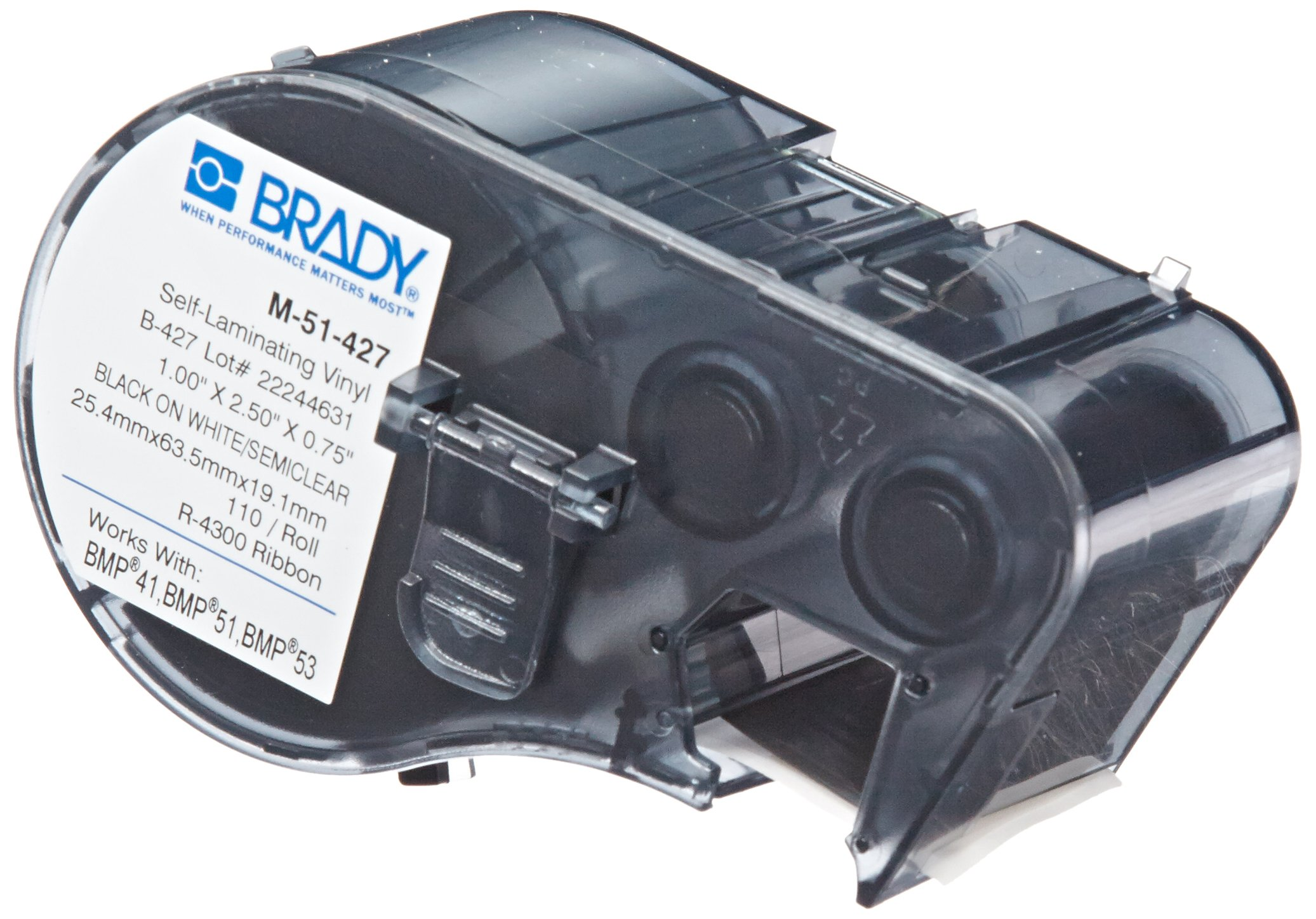 Brady Self-Laminating Vinyl Label Tape (M-51-427) - Black on White, Semi Clear Tape - Compatible with BMP41, BMP51, BMP53 Label Printers - 2.5'' Height.75'' Width