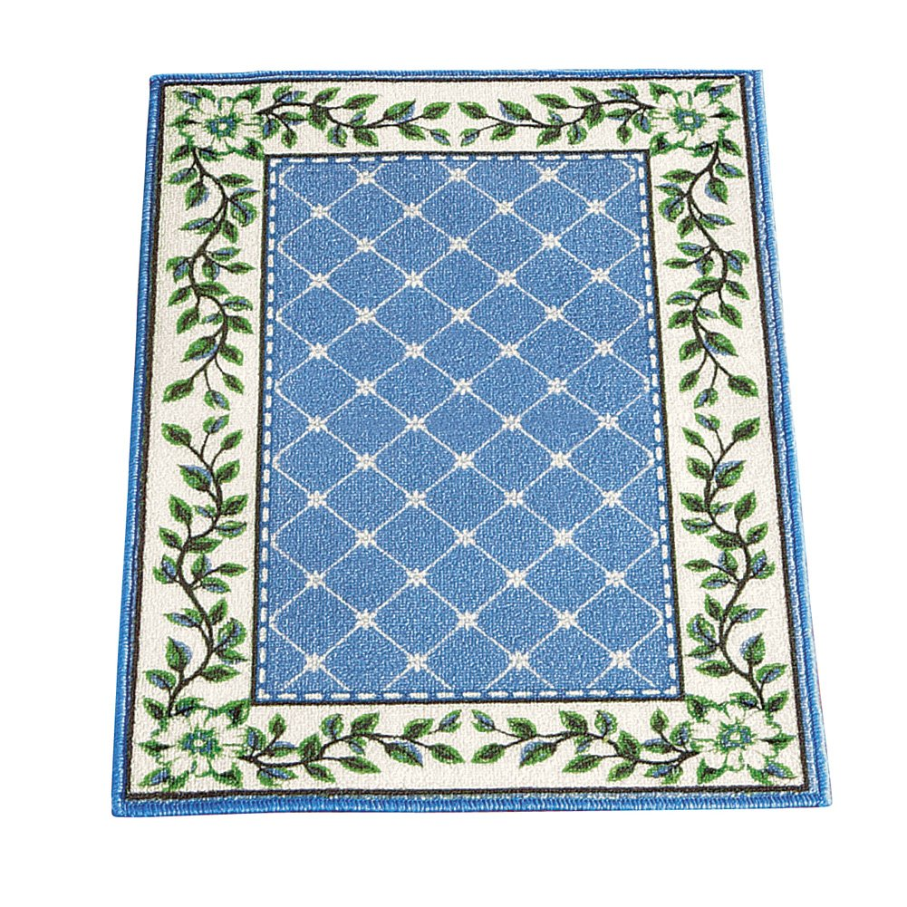 Collections Etc Leaf Border Diamond Lattice Rug with Skid-Resistant Backing, Blue, 20X30 Winston Brands