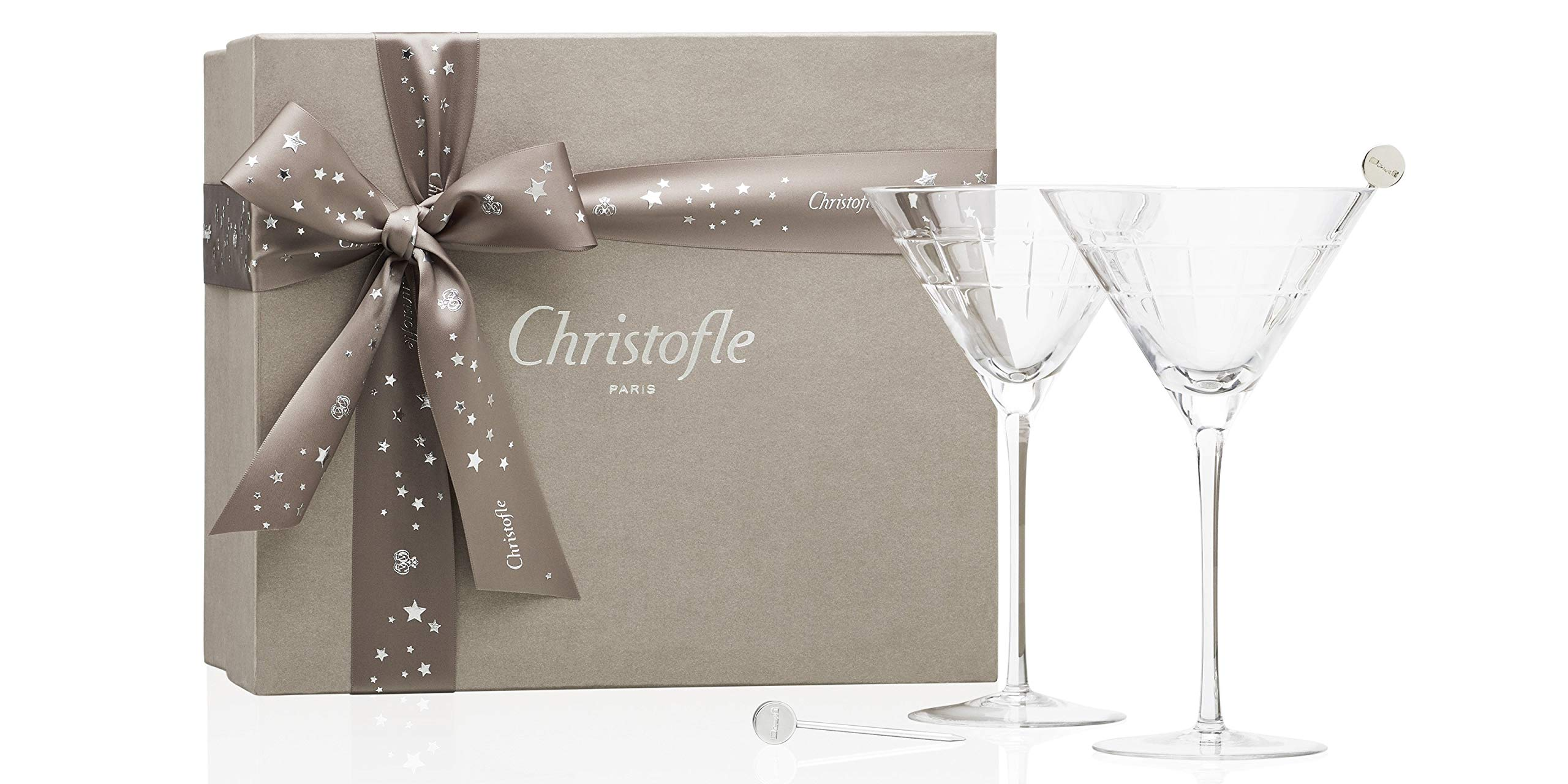 Christofle Gift Box Set of 2 Graphik Crystal Martini Glasses & 2 Silver-Plated Cocktail Sticks #7945282