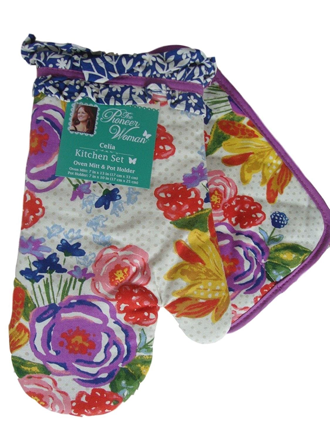 Pioneer Woman Oven Mitt and Pot Holder Set Celia Collection Kitchen Floral