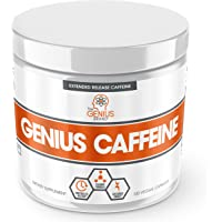 GENIUS CAFFEINE – Extended Release Microencapsulated Caffeine Pills, All Natural Non-Crash Sustained Energy & Focus Supplement –Preworkout & Nootropic Brain Booster For Men & Women,100 veggie capsules